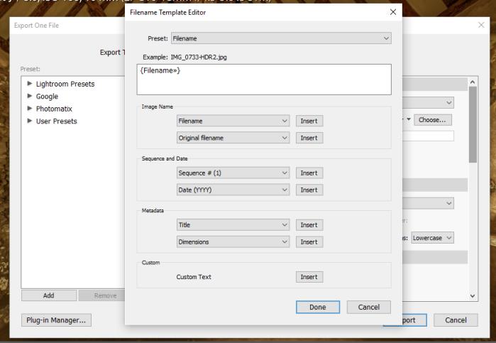 Filename Template Editor