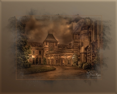 A photograph of Eltham Palace processed in a powder paint effect.