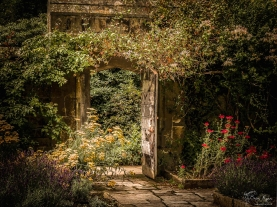 Stone wall and wooden gate at Nymans that leads you into the walled gardens.