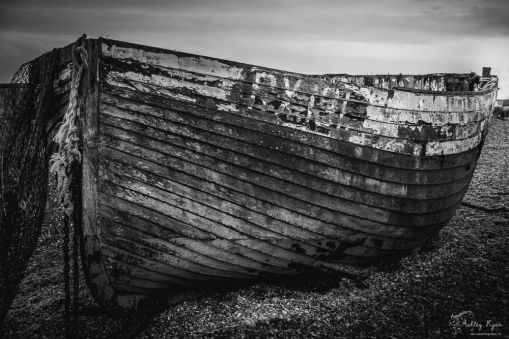 Wooden boats on the shore of Dungeness