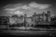 A monochrome photograph of Leeds Castle near Maidstone in Kent.