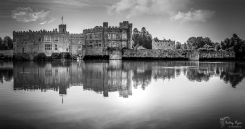 A HDR panoramic monochrome photograph of Leeds Castle, in Maidstone Kent.