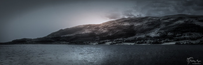 Panoramic photograph fo Loch Leven