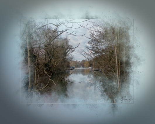 A photograph of the River Medway taken at Allington Locks near Maidstone in Kent