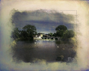 A photograph of the River Avon taken at Fordingbridge in Hampshire and processed in a Powder Paint Effect, Topaz Texture Effects and Topaz Impression