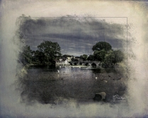 A photograph of the River Avon taken at Fordingbridge in Hampshire and processed in a Powder Paint Effect and Topaz Texture Effects