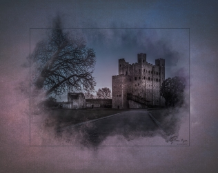 A photograph of Rochester Castle taken on a late Saturday evening in March.