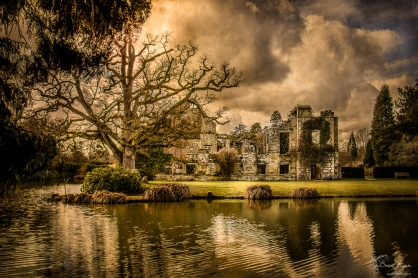 A photograph of the ruins of Scotney Castle in Kent...