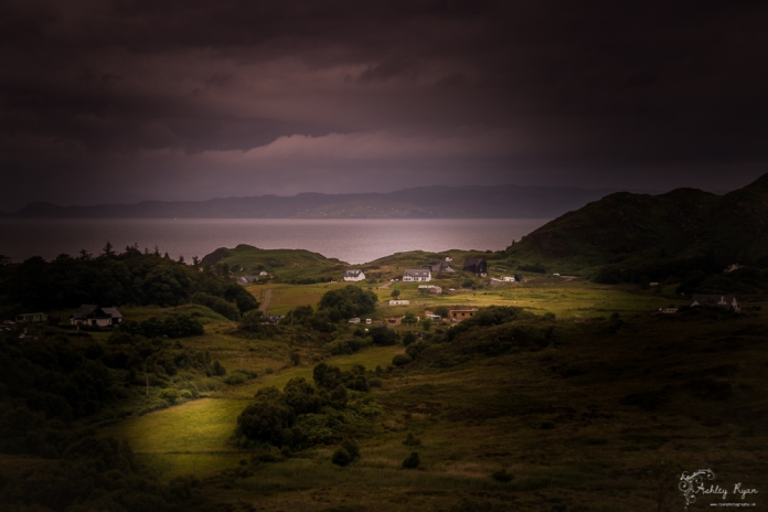 A photograph of a valley taken from the A830 in Scotland as we headed towards Mallaig.