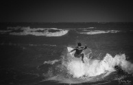 A photograph of a surfer at Joss Bay