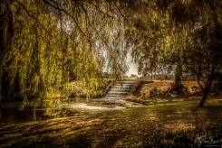 A photograph of the stepped water cascade at Leeds Castle in Kent.