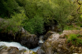 Fast flowing water at Aria Force near Ullswater in Cumbria