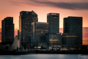 A photograph of Canary Wharf just as the sun was setting and before the buildings started to become illuminated.