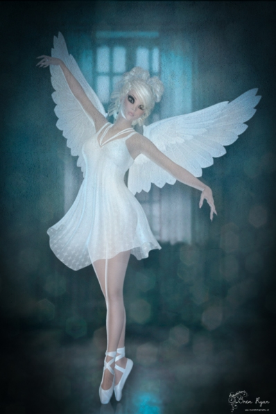 A piece of digital art of a ballerina created in Photoshop.