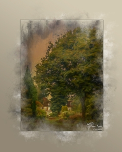 A photograph of the main house at Great Comp Gardens processed in a Powder Paint Effect.