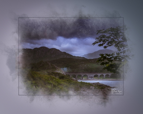 A photograph of a bridge on the A830 in Scotland processed in a Powder Paint Effect.