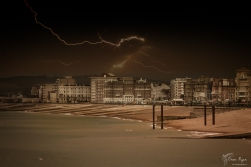 A photograph of a storm taken from Brightron Pier in East Sussex.