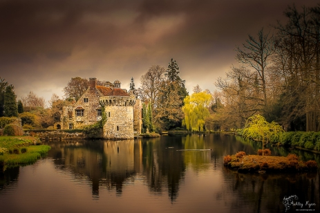 Photograph of the moat and old castle at Scotney Castle in Kent.