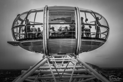A photograph of a capsule at the top of the London Eye