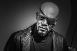 A waxwork image of Samuel L Jackson as Nick Fury