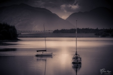 A photograph of boats on Loch Leven in Scotland taken at Ballachulish.