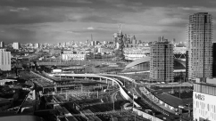 A monochrome photograph of Stratford London.
