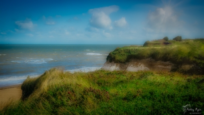 A photograph of Cliftonville Bay taken on the cliff tops