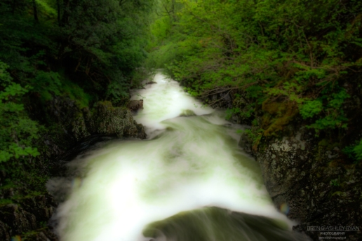 A photograph of the River Coe in Scotland, as the water was rushing down from the mountains.
