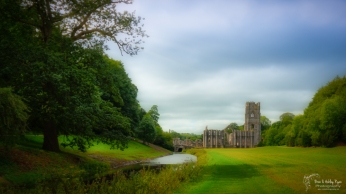A photograph of Fountains Abbey in North Yorkshire.
