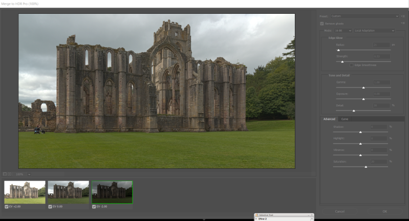 Settings for Photoshop Pro HDR Merge