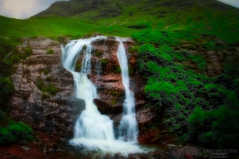 A photograph of a waterfall taken at Glencoe in Scotland in 2016.