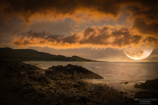 A composite image created in Photoshop to add Moon and Moonlight.