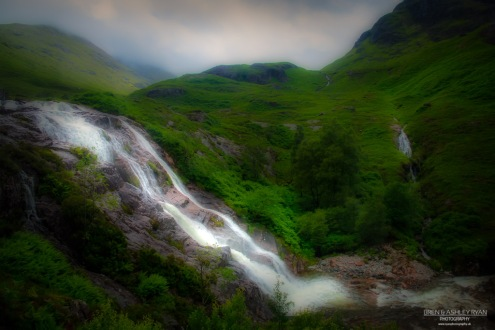 A photograph of one of the waterfalls as you drive into Glencoe Village in Scotland.