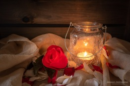 Candle lit rose petals