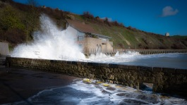 A photograph of waves at Folkestone in Kent.