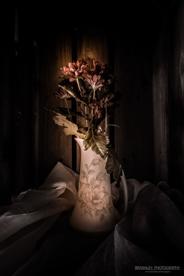 A photograph of a tall narrow vase, with flowers in it.