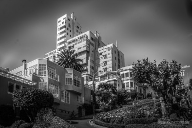 A photograph of Lombard Street, San Francisco, one of the most crooked streets in the USA.